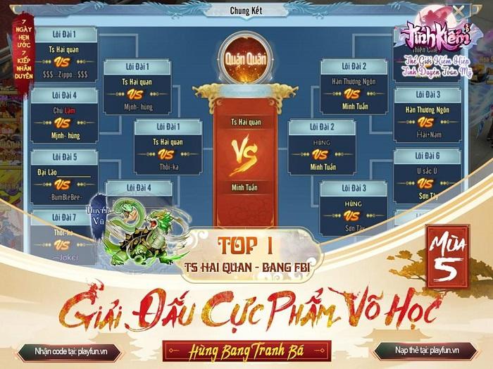 Tình Kiếm 3D vinh danh Tứ Đại Chi Chủ của siêu giải đấu Cực Phẩm Võ Học mùa 5 4