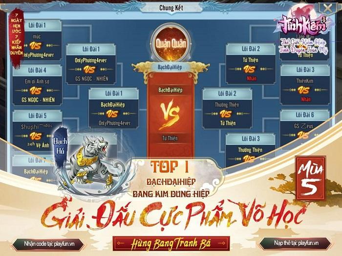 Tình Kiếm 3D vinh danh Tứ Đại Chi Chủ của siêu giải đấu Cực Phẩm Võ Học mùa 5 8