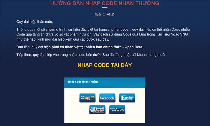 Tặng 400 giftcode game Tân Tiếu Ngạo VNG 0