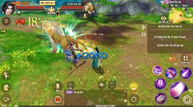 Tân Thiên Long Mobile luyện khả năng hỗn chiến nhóm với Hộ Bảo Thần Thú Liên Server