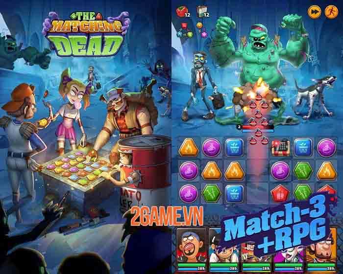 The Matching Dead: Game match-3 bối cảnh tận thế thây ma đồ họa vui nhộn 1