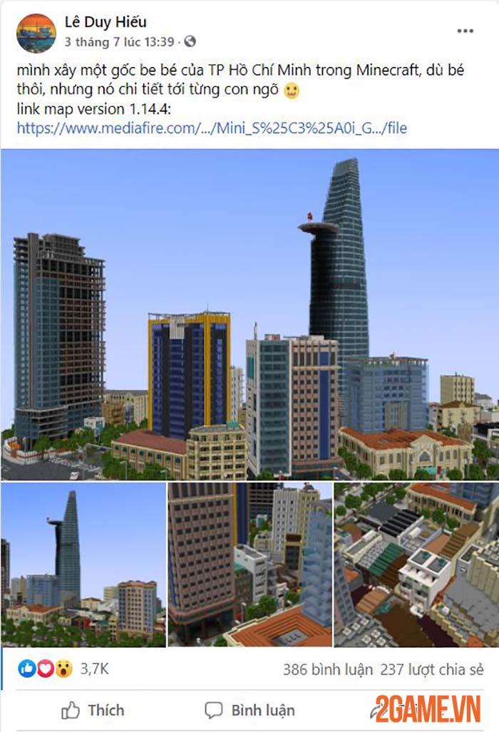Nghỉ tránh dịch game thủ tái hiện một góc Hồ Chí Minh trong Minercraft 0