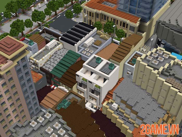 Nghỉ tránh dịch game thủ tái hiện một góc Hồ Chí Minh trong Minercraft 3