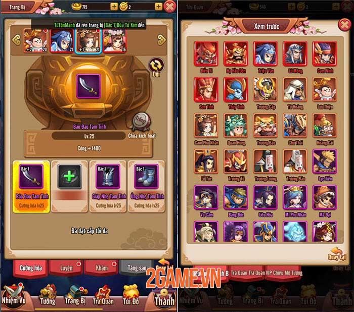 Chiu Chiu Tam Quốc Mobile có nhiều cách để nâng cấp sức mạnh đội hình 4