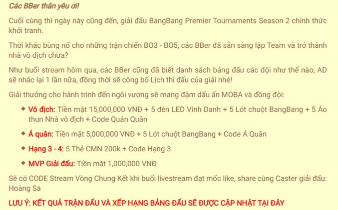 Bùng nổ với giải đấu Bang Bang Premier Tournaments Season 2 1