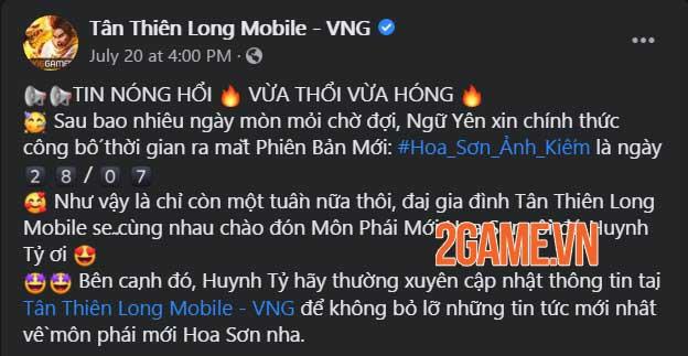 Tân Thiên Long Mobile VNG ấn định ngày ra mắt phiên bản mới Hoa Sơn Ảnh Kiếm 1