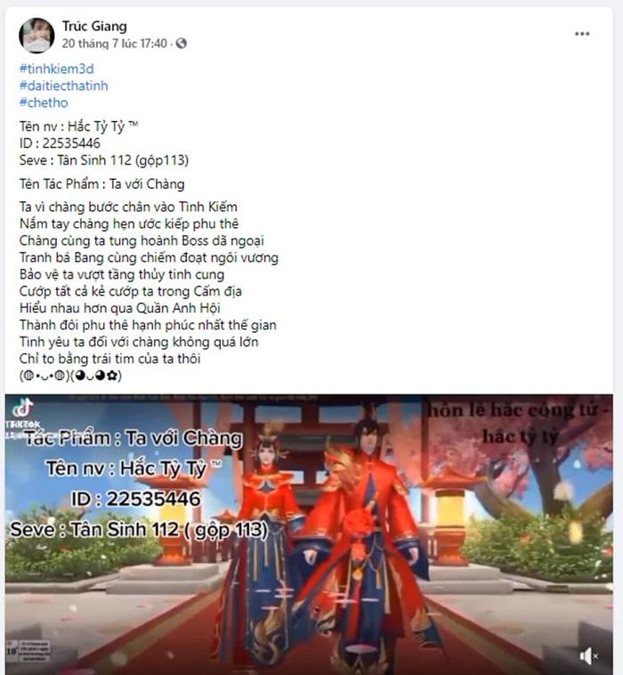 Game thủ Tình Kiếm 3D phấn khích với sự kiện