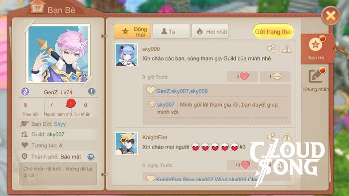 Cloud Song VNG: Cho phép mở trang cá nhân và tương tác ngay trong game 0