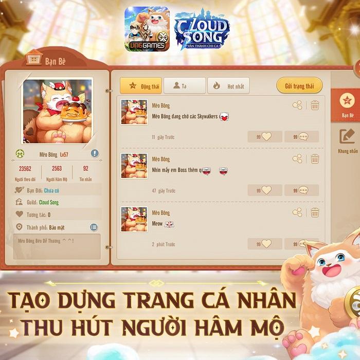 Cloud Song VNG: Cho phép mở trang cá nhân và tương tác ngay trong game 1