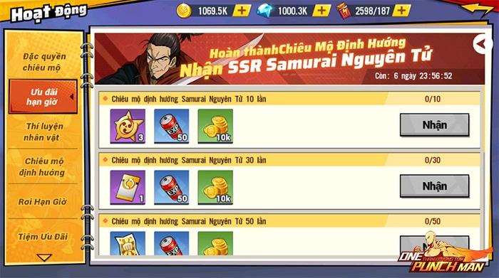 One Punch Man: The Strongest ra mắt chuỗi sự kiện Samurai nguyên tử 1