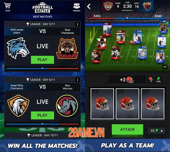 Football Battle - Touchdown: Game thẻ bài bóng đá thể hiện logic và tính đồng đội 3