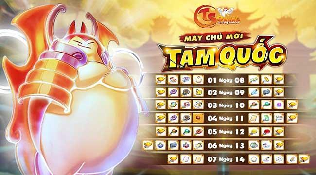 TS Online Mobile tặng quà ngập mặt cho game thủ ở máy chủ mới Tam Quốc