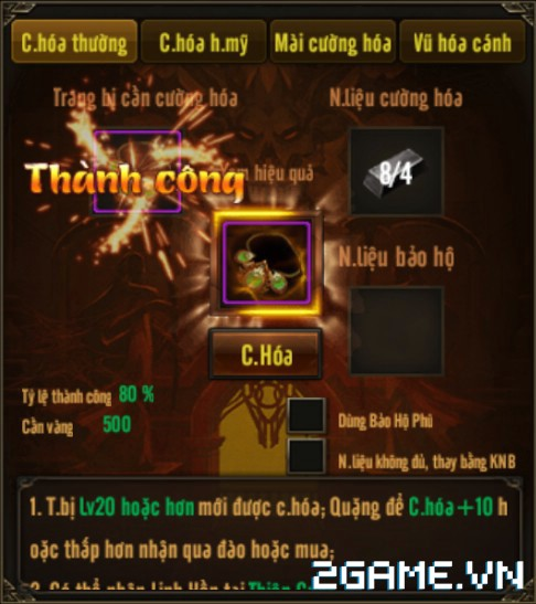 Võ Lâm Returns – Tính Năng Cường hóa trang bị