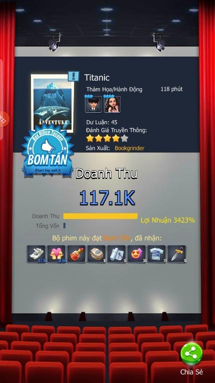 Chỉ bạn cách làm giàu ở game mô phỏng kinh doanh 360mobi Cinema VNG 0