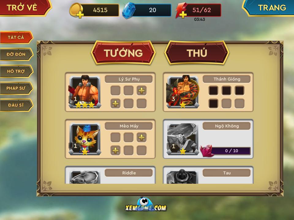 Anh Hùng Đại Chiến mobile | XEMGAME.COM