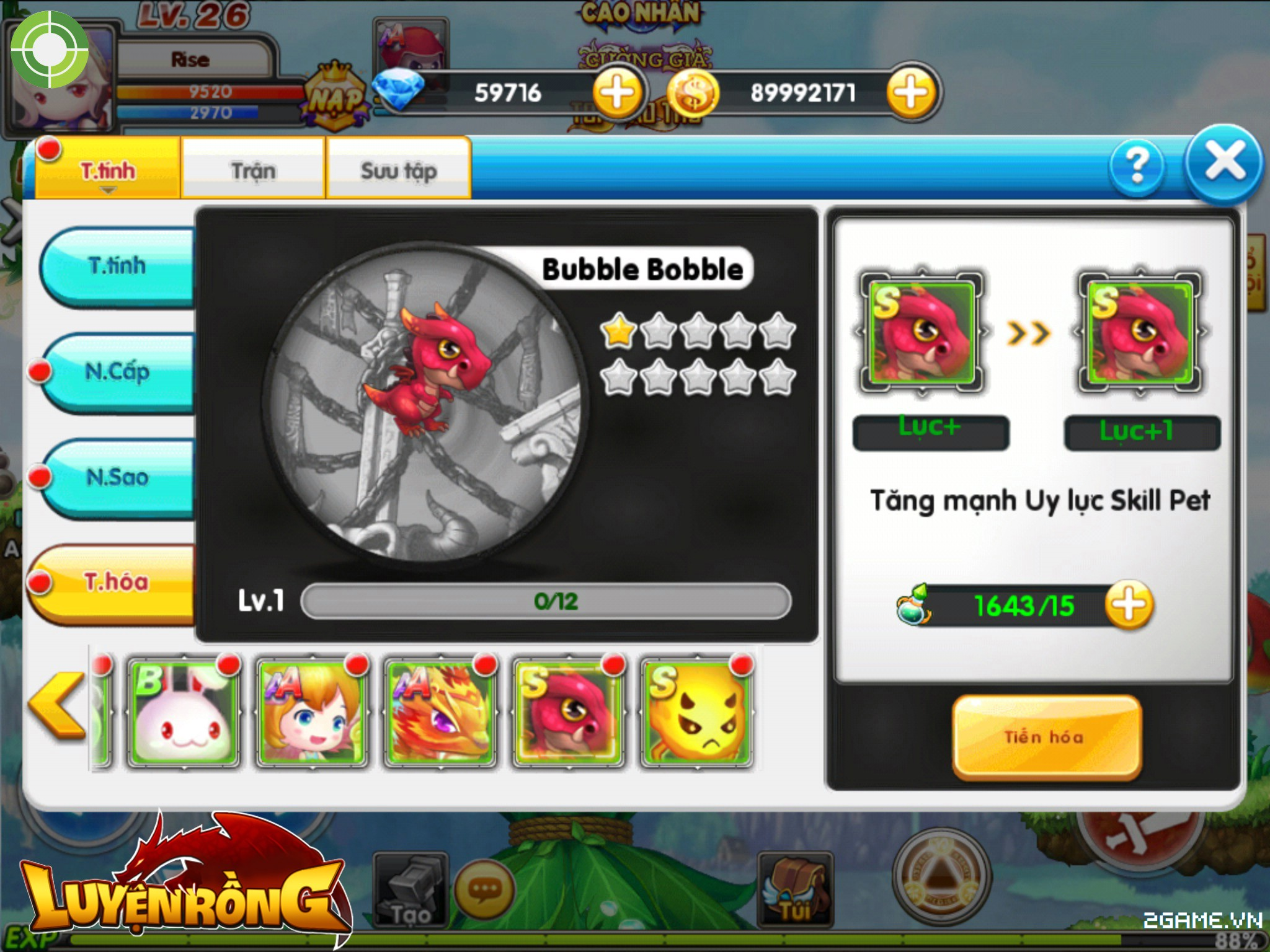 Tìm hiểu hệ thống pet trong Luyện Rồng mobile