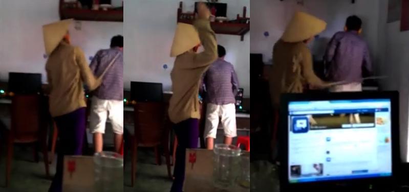 Thanh niên max tank khi mẹ cầm roi quất lia lịa tại quán net