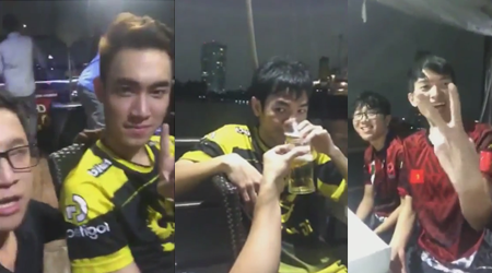 LMHT: VETV Đức Mạnh cùng 2 đội tuyển GAM và YG Việt Nam ăn mừng trên du thuyền