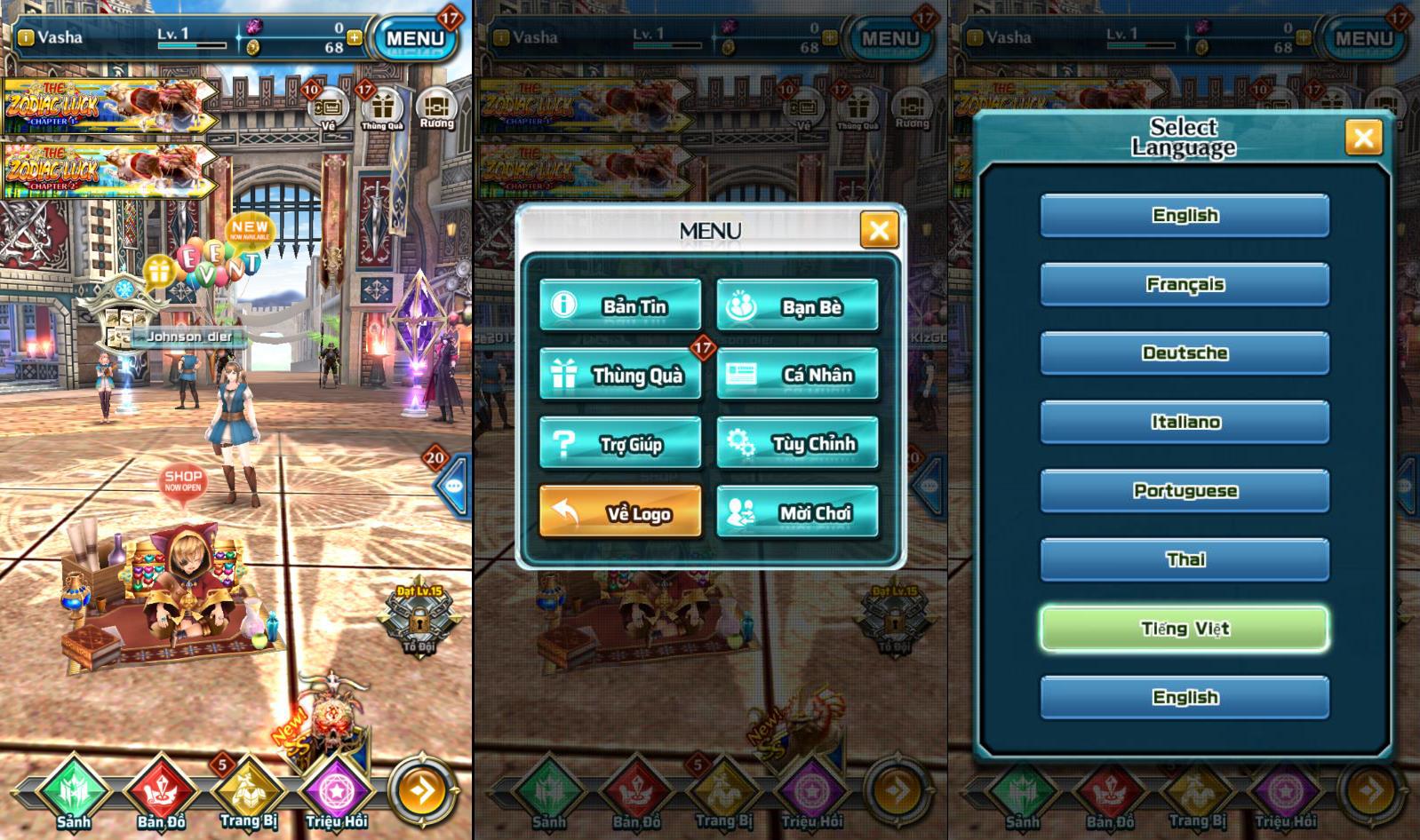 Dragon Project Việt hóa một phần giao diện giúp người chơi tìm hiểu game dễ hơn