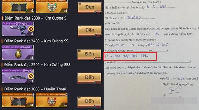 Hài hước game thủ Crossfire Legends làm hẳn đơn xin nghỉ không ăn lương để cày top game