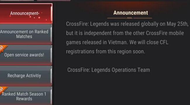 Crossfire Legends bản quốc tế không cho game thủ Việt vào chơi, lý do vì sao?