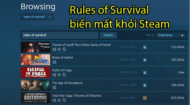 Ra mắt chưa được bao lâu, Rules of Survival Steam ế ẩm đến độ phải gỡ bỏ