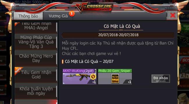 Chơi Crossfire Legends hôm nay nhận ngay AK47 WuKong và phiếu Gem