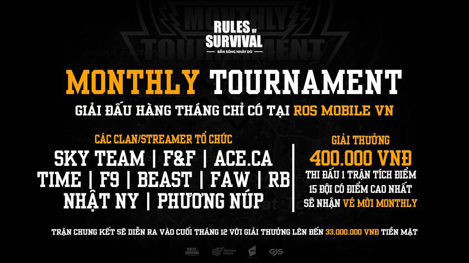 NPH VNG hé lộ giải đấu ROSM Monthly Tournament với tổng giải thưởng lên đến 33 triệu đồng